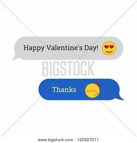 Congratulations to the Happy Valentine's Day. SMS message with emotion icons. Vector illustration