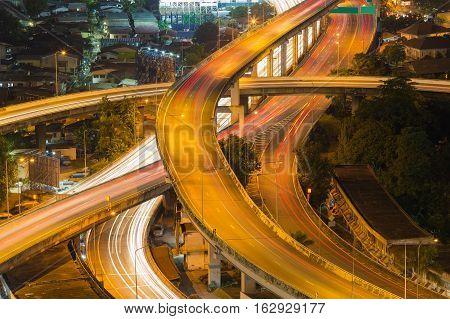 Highway overpass intersection long exposure night view