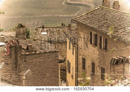 old roofs in a Tuscany landscape, Italy