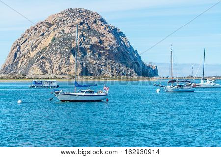some boats in Morro bay in California