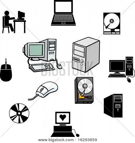 computer technology illustrations and symbols set