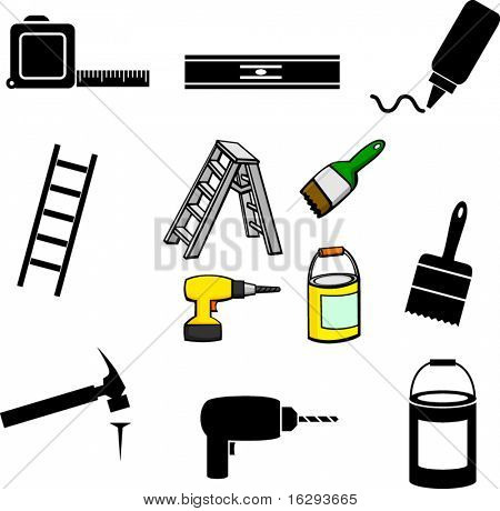 home improvement illustrations and symbols set