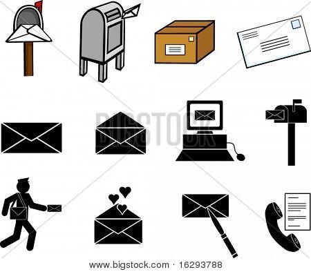 conjunto de símbolos e ilustrações de comunicações correio