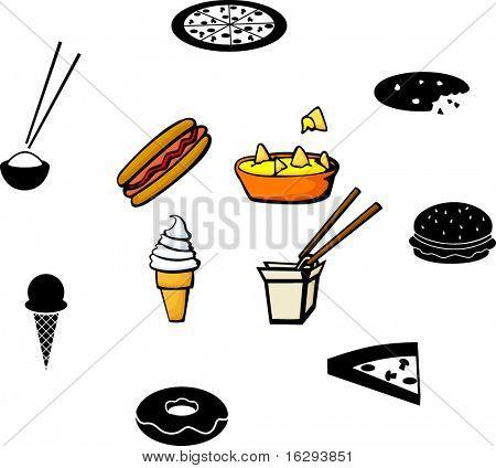 fast food illustrations and symbols set