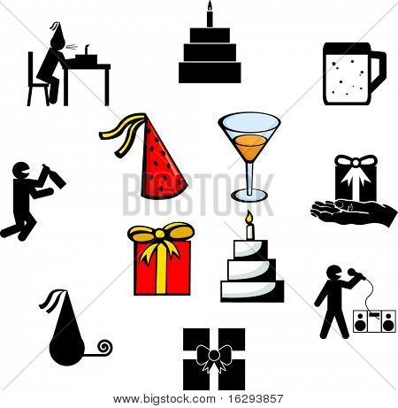 party celebration illustrations and symbols set