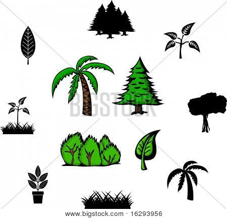 trees and plants illustrations and symbols set