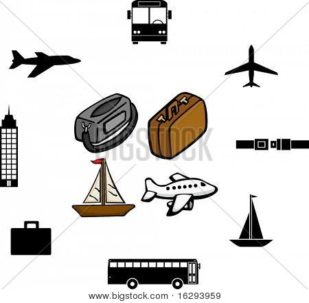 travel illustrations and symbols set