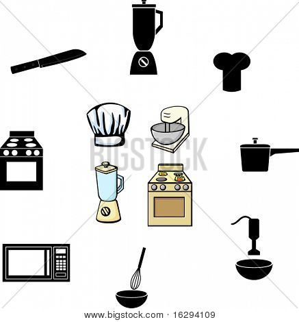 cooking and kitchen illustrations and symbols set