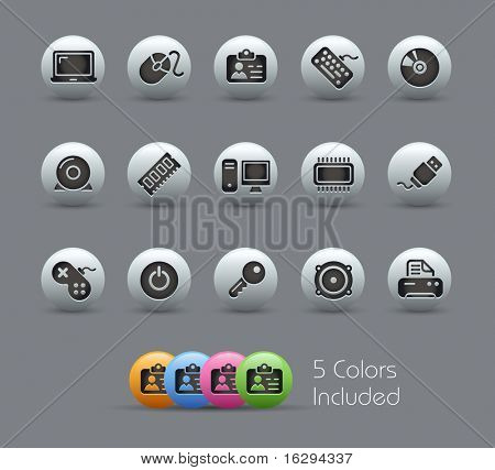 Computer & Devices // Pearly Series -------It includes 5 color versions for each icon in different layers ---------