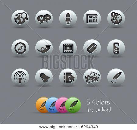 Redes sociales / / serie nacarada---incluye 5 versiones de color para cada icono en diferentes capas