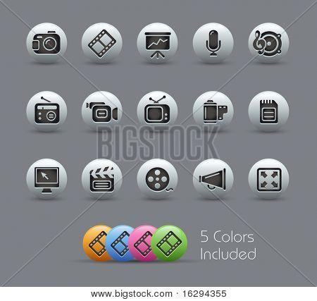 Multimedia / / série perolado---inclui 5 versões de cor para cada ícone em diferentes camadas -