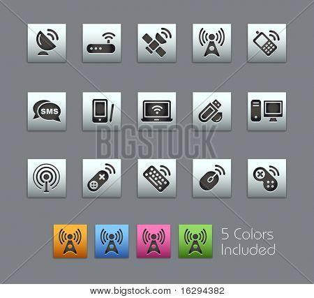 Comunicaciones inalámbricas & / / Satinbox serie---incluye 5 versiones de color para cada icono en di