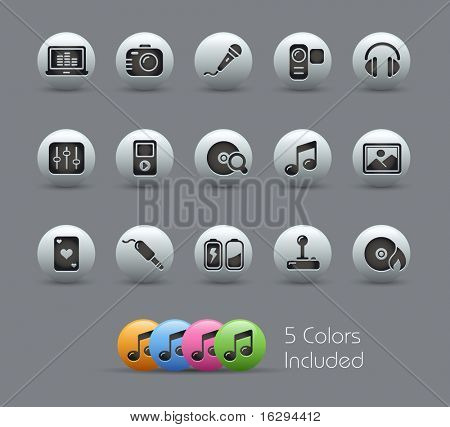 Media & Entertainment // Pearly Series -------It includes 5 color versions for each icon in different layers ---------