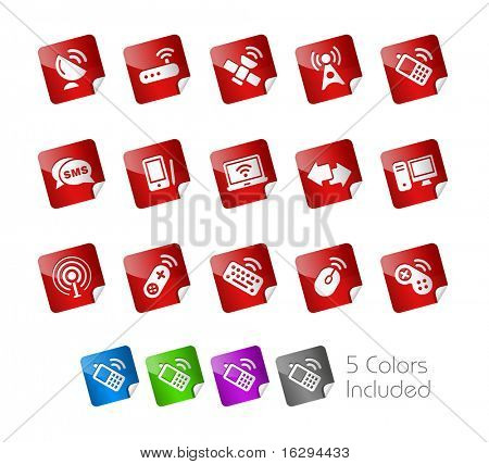 Wireless & Communications  // Stickers Series -------It includes 5 color versions for each icon in different layers ---------