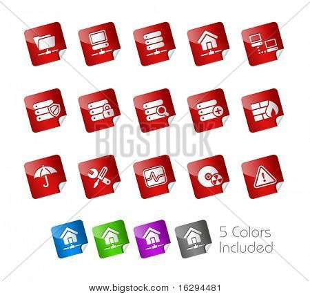 Network, Server & Hosting // Stickers Series -------It includes 5 color versions for each icon in different layers ---------