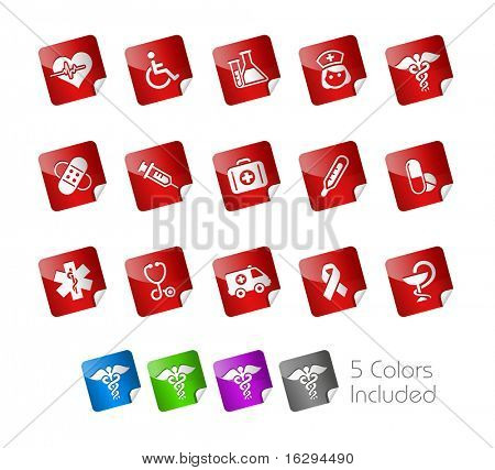 Medical Icons // Stickers Series -------It includes 5 color versions for each icon in different layers ---------
