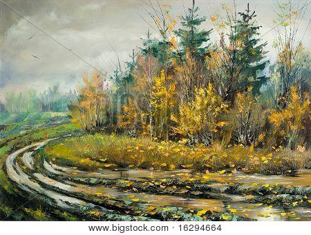 Impassable road to autumn wood