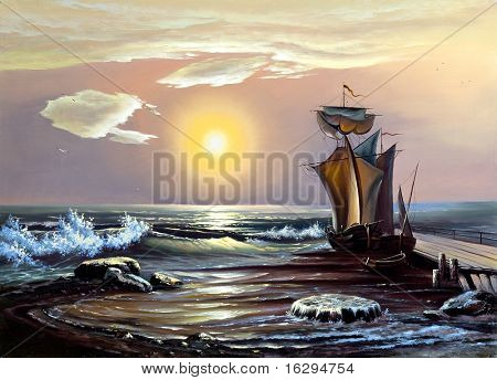 Sailing boat against the coming sun
