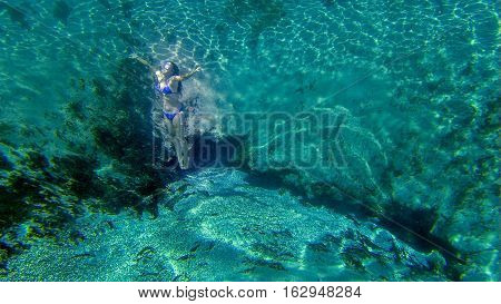 Young woman snorkeling on Central Florida Springs