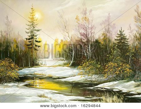 Winter landscape on the bank of the river