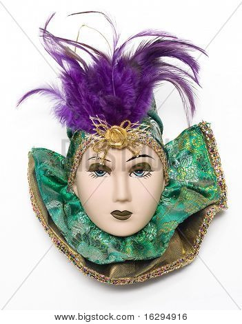 Venetian mask with jewelry and brilliants and pearls