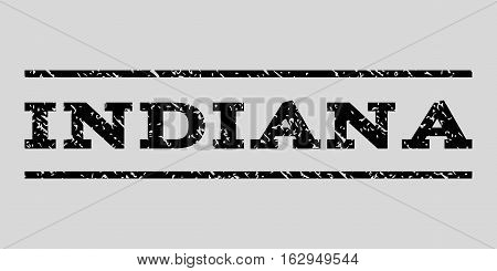 Indiana watermark stamp. Text caption between horizontal parallel lines with grunge design style. Rubber seal stamp with dust texture. Vector black color ink imprint on a light gray background.