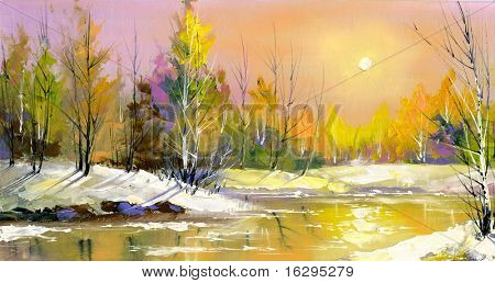 Holz Flusses auf einem Rückgang im Frühjahr