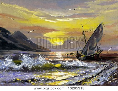 Sailing boat in waves on a decline