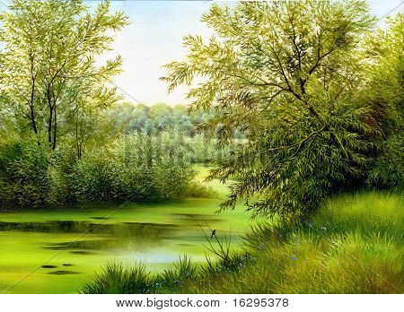 Sommer Holz See mit Bäumen und Sträuchern