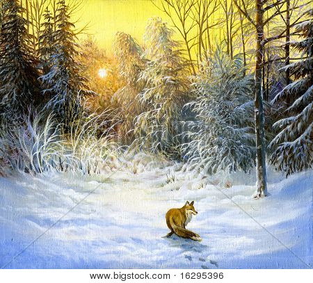 Winter landscape with a fox on a decline