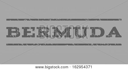 Bermuda watermark stamp. Text tag between horizontal parallel lines with grunge design style. Rubber seal stamp with scratched texture. Vector dark gray color ink imprint on a silver background.