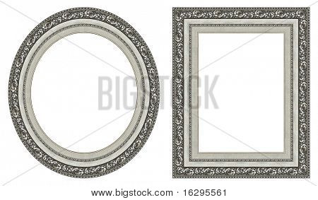 Oval and rectangular silver picture frame with a decorative pattern