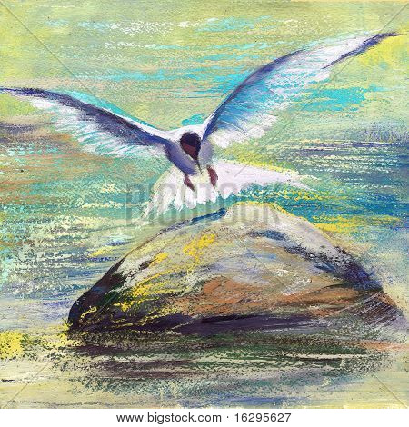 The seagull flying over water
