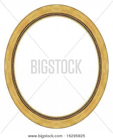 Marco oval oro con un patrón decorativo
