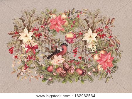 Christmas vintage watercolor decorative background. Bird, holiday ornament poinsettia flowers with Rowan and Holly branch