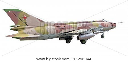The SU-25 plane isolated on a white background