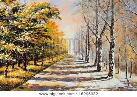 Allegory on theme winter-autumn