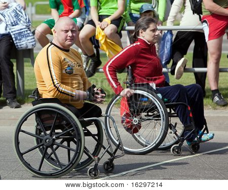 VITEBSK, BELARUS - MAY 15: Start of sportsmen-invalids on a sports holiday May, 15, 2010 in Vitebsk, Belarus