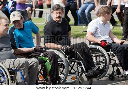 "VITEBSK, BELARUS - MAY 15: Start of sportsmen-invalids on a sports holiday ""The international Olympic day"" May, 15, 2010 in Vitebsk, Belarus"