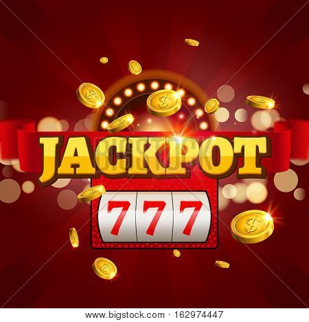 Jackpot 777 gambling poster design. Money coins winner casino success concept. Slot machine game prize.