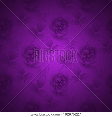 Abstract geometric seamless background, single color. Regular delicate floral pattern with rosebuds and leaves in purple shades, romantic and dreamy.
