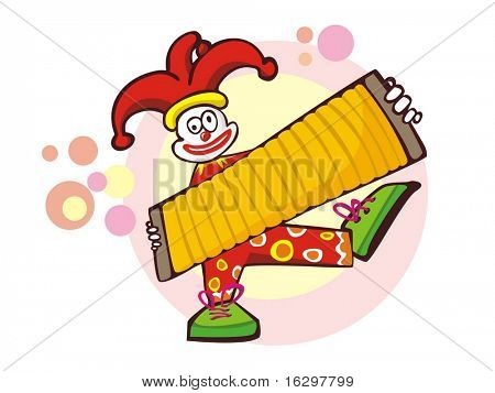 The cheerful clown and an accordion. Vector illustration.
