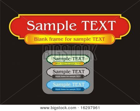 Blank label frame for text and four different colors schemes . Vector illustration.