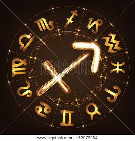 Zodiac sign Sagittarius in fire-show style on horoscope circle background. Circle with signs of zodiac and constellations.Vector illustration