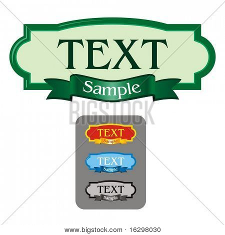 blank label frame for text and four different colors schemes. Vector illustration.