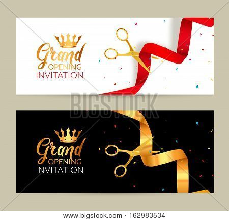 Grand Opening invitation banner. Golden Ribbon and red ribbon cut ceremony event. Grand opening celebration card.