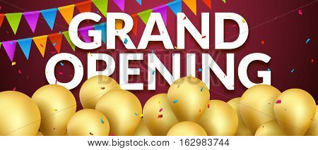 Grand Opening event invitation banner with golden balloons and confetti. Grand Opening poster template design.