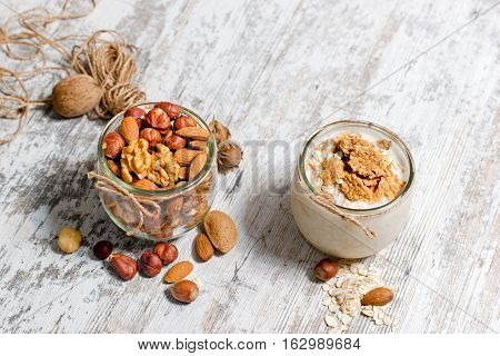 Healthy meal, healthy food - vegetarian food (oat meal and nuts)