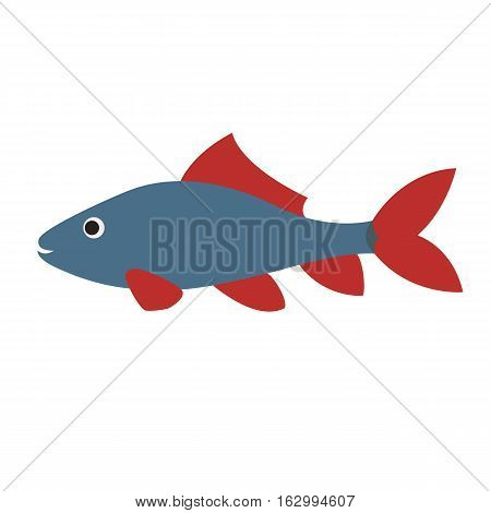 blue fish with red fins. vivid aquarium exotic fish in a tropical marine fish. vector