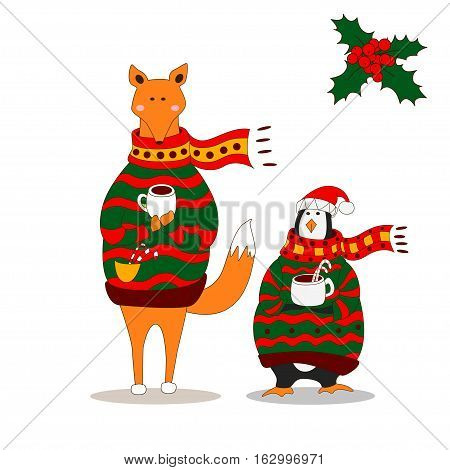 Cute fox christmas holiday greeting card vector stock. Fox wearing scarf and pullover